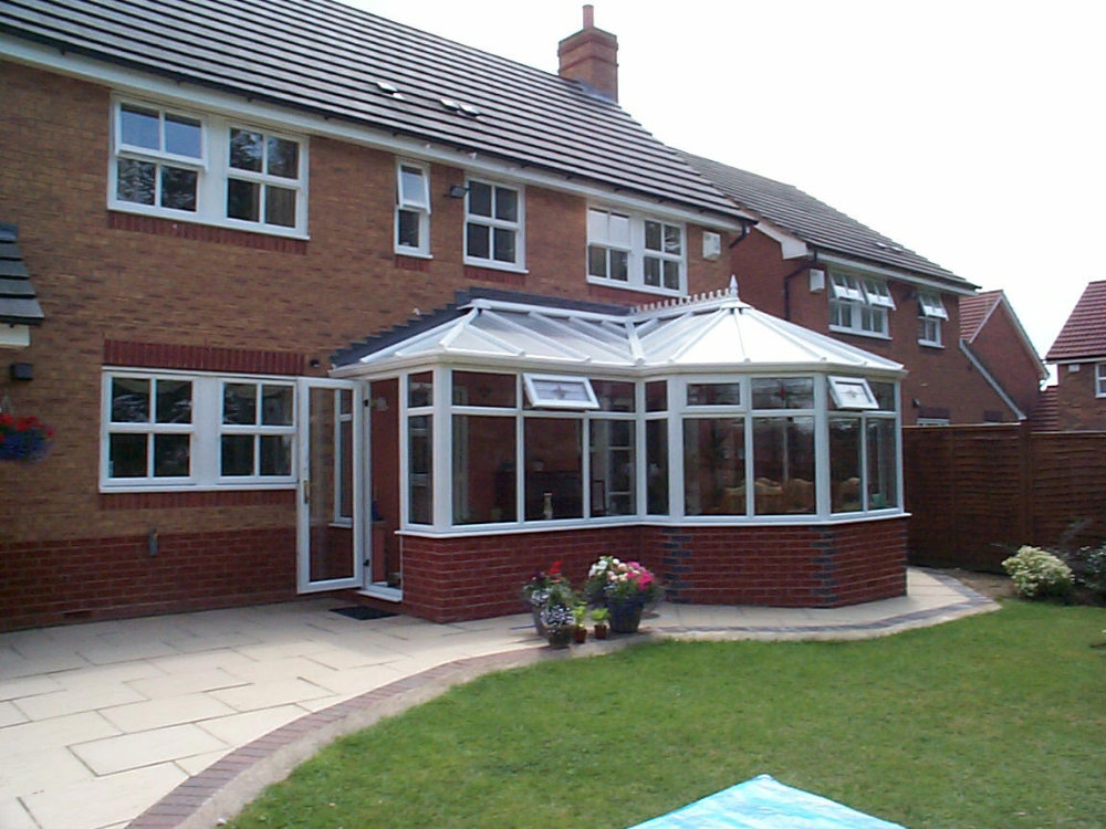White uPVC P Shaped Conservatory by High-Tech Gloucestershire