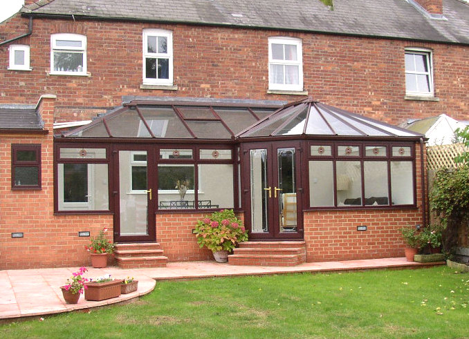 UPVC Rosewood P Shaped Conservatory by High-Tech Gloucestershire