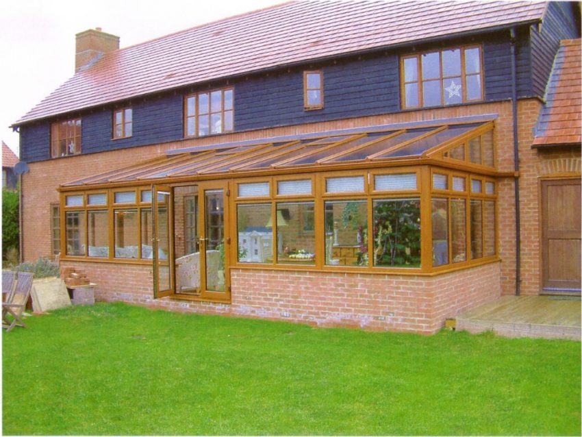 Light Oak uPVC Lean To Conservatory by High-Tech Gloucestershire