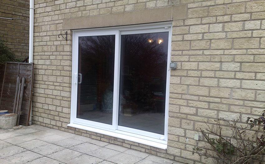white sliding patio door